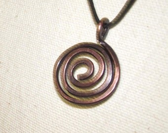 Salvaged / Copper / Wire / Patina / Pendant / OOK / Spiral