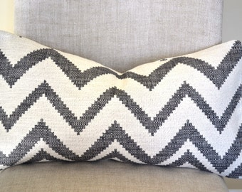 Decorative Throw Pillow, 12 by 22 in zig zag, grey,  geometric design (Cover only)