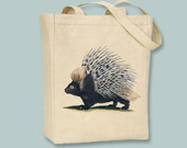 Fabulous Vintage Porcupine Canvas Tote -- Selection of  sizes available