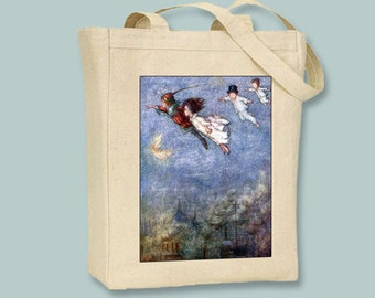 Peter Pan, Peter and Wendy Flying Vintage Illustration  Natural or Black Canvas Tote  - Selection of sizes and personalization available