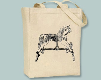 Childs Rocking Horse  Canvas Tote -- Selection of sizes, ANY IMAGE COLOR available