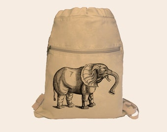 Vintage Elephant Engraving Illustration Canvas Cinch Sack Backpack