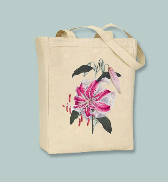 Gorgeous Vintage Lily Illustration on Canvas Tote -- Selection of sizes available
