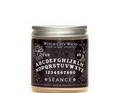 Séance 4oz frankincense sandalwood scented soy wax, Ouija board candle