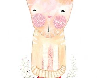 Ginger house cat print tabby cat nursery art childrens room decor
