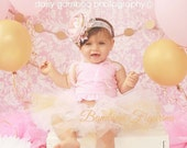 Ready to ship Pink & gold princess theme corset top- 1st birthday,Photo Prop