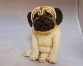 Pug Needle Felted Soft Sculpture, One of a Kind Dog by Grannnancan