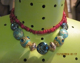 Statement Necklace Turquoise & Aqua with Red/Ruby Shell 2 Strand......one of a kind.1530h Boho/Holiday/Beach/Shabby Chic Wear