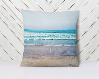 Beach Pillow Pacific Ocean Decor, Summer Home Decor, San Diego California Throw Pillow, Beach Decor Pillowcase - 16x16, 18x18 or 20x20