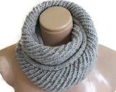 infinity scarf, cowl, neck warmer, Circle Scarf, soft, hand knit, unisex, women, Men, Tweed gray