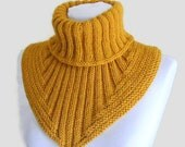 Men scarf, cowl, neck warmer, knit collar, soft, hand knit, unisex, women,  Black, Mustard