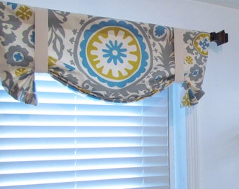 TIE UP Valance Lined Curtain Suzani Summerland/ Custom Sizing Available!