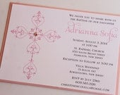 Girl Delicate Cross Baptism-Communion Invitation;  Decorative Cross - PRIVATE LISTING