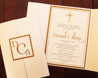 Ornamental Cross Boy Baptism-Communion Champagne-Gold Gate Fold Invitation