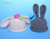 CROCHET PATTERN - Some Bunny Hat - a boy & girl bunny hat in 5 sizes (Infant, Baby, Toddler, Child, Adult) - Instant PDF Download