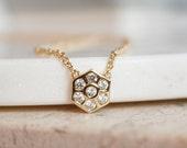 Gold Hexagon Necklace - White Topaz Hexagon - Gold Hexagon Charm - Honeycomb Necklaces - Bridesmaids Necklaces