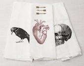 Kitchen Towel Set - Skull - Flour Sack Towel - Crow - Anatomical Heart - Macabre - Dish Cloth - Tea Towel