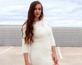 FREE SHIPPING - Angora Long-sleeve Low Back Mini Dress