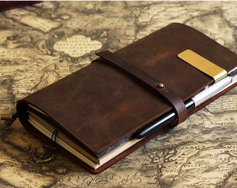 Vintage Brown Leather Journal  Midori Traveler's style Notebook  Refillable/  Leather Notebook  leather diary/NB035
