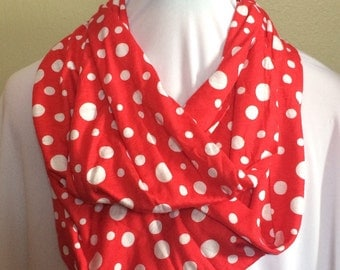Red With White Polka Dots Extra Long Infinity Scarf