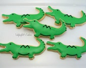 Alligator cookies, 12 handmade & iced