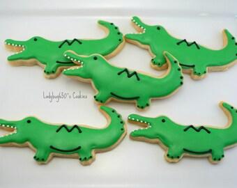 Alligator cookies, 12 handmade & iced