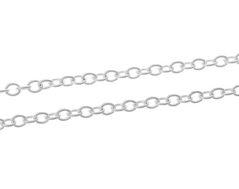 Bulk Silver Plated Cable Link Chain 10 meters (30 feet)  3mm x 2.5mm fch0118