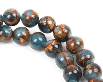 8mm Light Denim Blue Composite Golden Quartz Round Beads, non-faceted, 1 strand, gmx0021