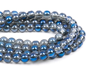 "8mm MYSTIC BLUE Round Glass Pearl Beads, 12"" strand, about 40 beads  bgl1163"