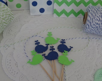 24  Whale Cupcake Toppers - Navy Blue and Lime Green- Food Picks - Party Picks - Baby Shower - Birthday Party