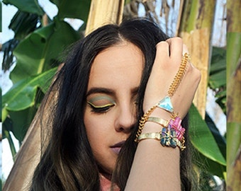 Aurora Triangle Galactic Ring Bracelet Boho Triangle Crystal FishSpine Chain Fish Spine Gold