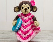 Lily the Baby Monkey Lovey / Security Blanket - PDF Crochet Pattern - Instant Download - Blankie Baby Blanket