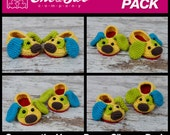 Scrappy the Happy Puppy Slippers Pack - PDF Crochet Patterns - Baby, Toddler and Child sizes - Baby Newborn Slippers