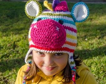 Rainbow Zebra Hat - PDF Crochet Pattern - 7 sizes ( Newborn to Adult ) - Beanie Hat Baby Child Adult Accessorie