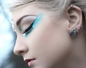 Small Wing Earrings with Surgical Steel Posts - Choose your Swarovski color - Gothic Jewelry