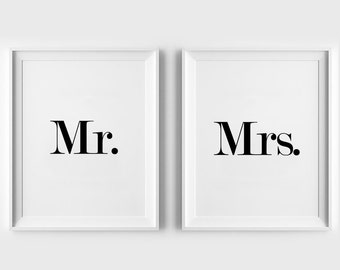 Mr and Mrs Print, Love, wall print art, bedroom sign, home decor, typography print, home wall art, minimalist, 8x10, 11x14, a4, a3