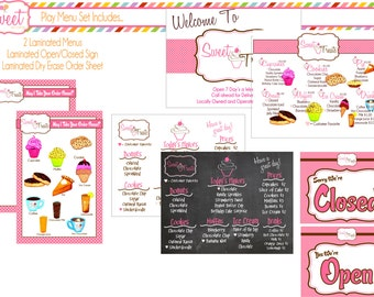 DELUXE Childs Pretend Play Bakery  Menu Set