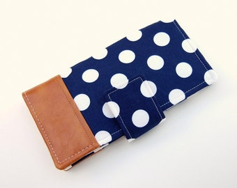 Women's Bifold Wallet - Smart Phone Clutch - Wristlet Option - Navy and Off White Polka Dot with Nutmeg Vinyl Dip