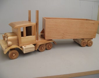 LAST ONE  Eco-friendly Wooden Toy Truck Semi 14 Wheeler Reclaimed Wood for Boys Unpainted Car