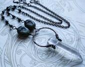 Raw Quartz and Glass Scarab Necklace. Khepri Crystal Nimbus Necklace.