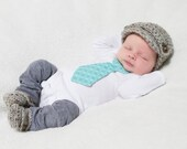 SALE Crocheted Baby Boy Newsboy Hat & Loafer Booties Set Grey Marble w/brown buttons newborn 0-3 3-6 6-12 mos shower gift photography pro