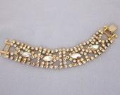 Vintage Rhinestone Bracelet - Statement Bracelet - 1950s Yellow Bracelet - Rhinestone Jewelry