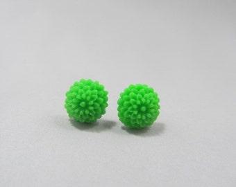 Green Rockabilly/Goddess Dahlia Stud Earrings