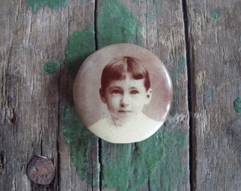 Vintage Photo Pin of a Boy