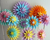 Paper Flowers, Mothers Day Bouquet, Pastel Dahlia Mix - Spring Flowers - First Anniversary, Origami Flowers