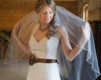 Pearl Edge Two Tier Wedding Veil Custom