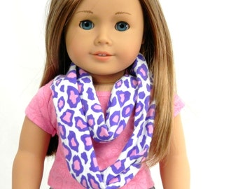 Doll Infinity Scarf Purple and Pink Cheetah Animal Print Fits 18 Inch Dolls to Match Girls Scarf