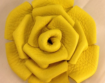 Leather Rose Clip - Yellow
