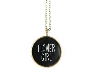 Flower Girl Necklace - Miniature  Pendant - Vintage Typewriter Key Inspiration
