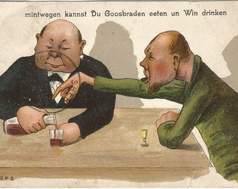 Drinking Cartoon with patron yelling at Bartender  Vintage Postcard Undivided Back Dutch or German drinking men
